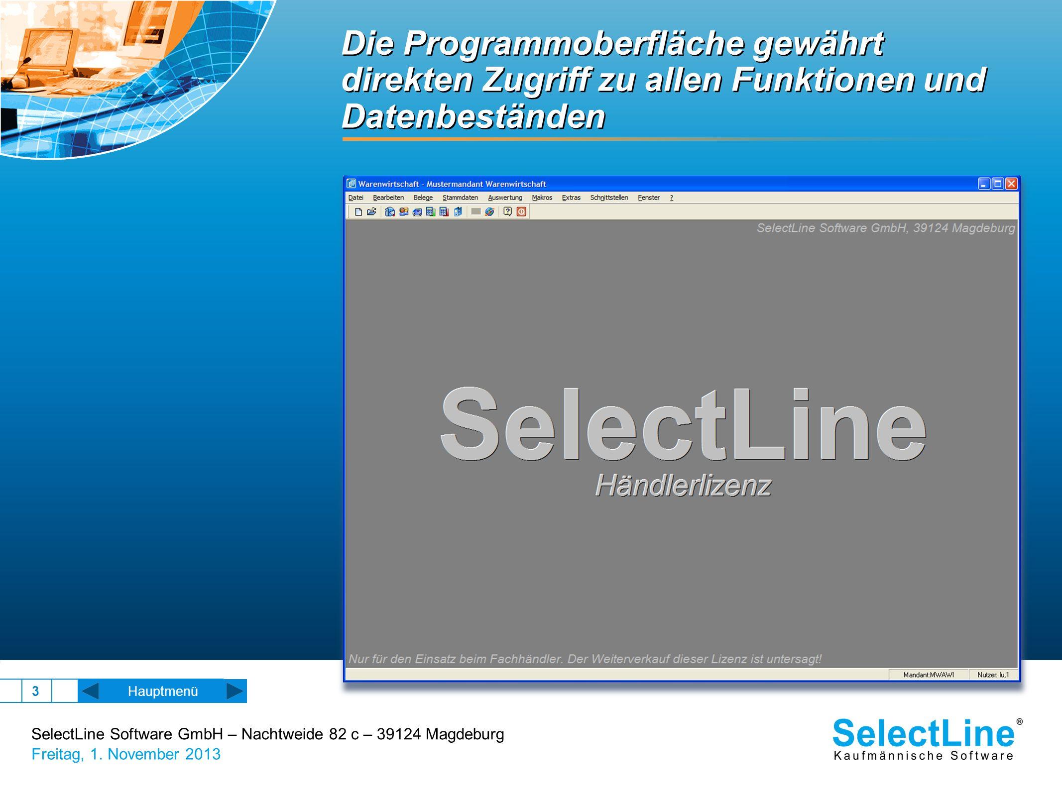 Die Programmoberfläche gewährt direkten Zugriff zu allen Funktionen und Datenbeständen