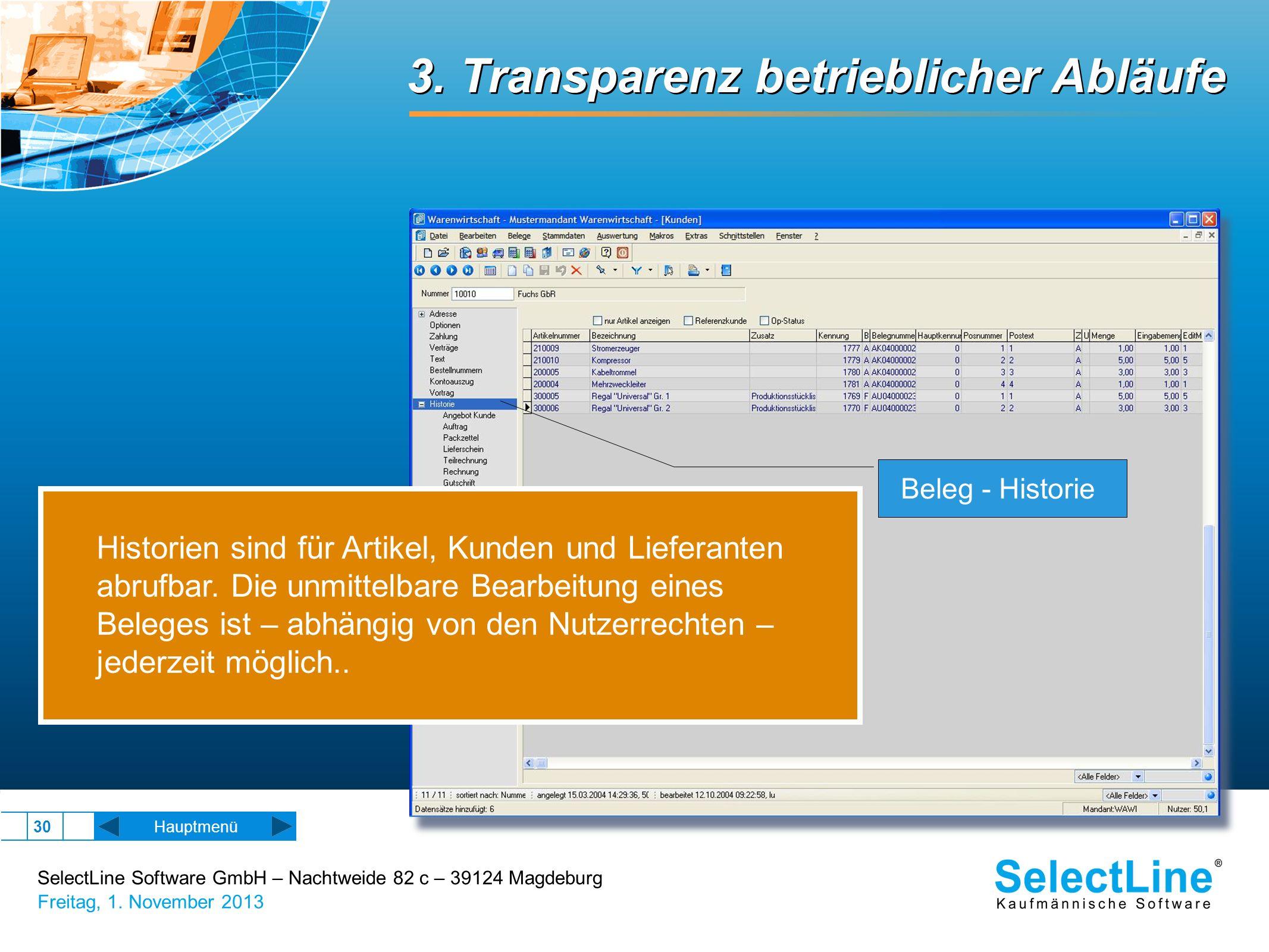 3. Transparenz betrieblicher Abläufe