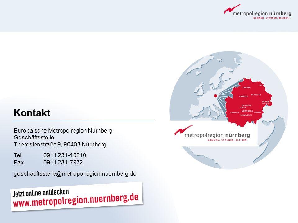 Kontakt Europäische Metropolregion Nürnberg Geschäftsstelle Theresienstraße 9, 90403 Nürnberg. Tel. 0911 231-10510 Fax 0911 231-7972.