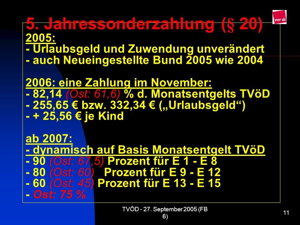 """5. Jahressonderzahlung (§ 20) 2005: - Urlaubsgeld und Zuwendung unverändert - auch Neueingestellte Bund 2005 wie 2004 2006: eine Zahlung im November: - 82,14 (Ost: 61,6) % d. Monatsentgelts TVöD - 255,65 € bzw. 332,34 € (""""Urlaubsgeld ) - + 25,56 € je Kind ab 2007: - dynamisch auf Basis Monatsentgelt TVöD - 90 (Ost: 67,5) Prozent für E 1 - E 8 - 80 (Ost: 60) Prozent für E 9 - E 12 - 60 (Ost: 45) Prozent für E 13 - E 15 - Ost: 75 %"""