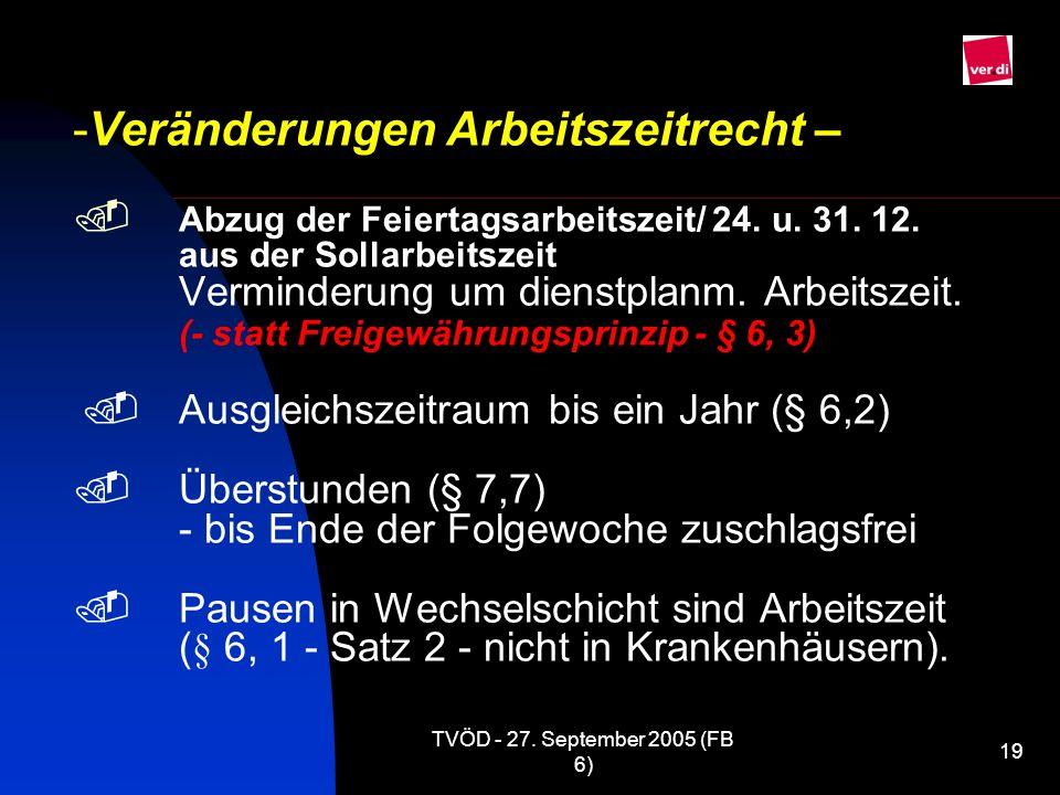 Veränderungen Arbeitszeitrecht – . Abzug der Feiertagsarbeitszeit/ 24. u. 31. 12. aus der Sollarbeitszeit Verminderung um dienstplanm. Arbeitszeit. (- statt Freigewährungsprinzip - § 6, 3) . Ausgleichszeitraum bis ein Jahr (§ 6,2) . Überstunden (§ 7,7) - bis Ende der Folgewoche zuschlagsfrei . Pausen in Wechselschicht sind Arbeitszeit (§ 6, 1 - Satz 2 - nicht in Krankenhäusern).