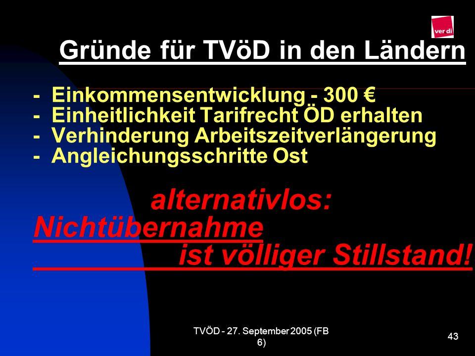 Gründe für TVöD in den Ländern - Einkommensentwicklung - 300 € - Einheitlichkeit Tarifrecht ÖD erhalten - Verhinderung Arbeitszeitverlängerung - Angleichungsschritte Ost alternativlos: Nichtübernahme ist völliger Stillstand!