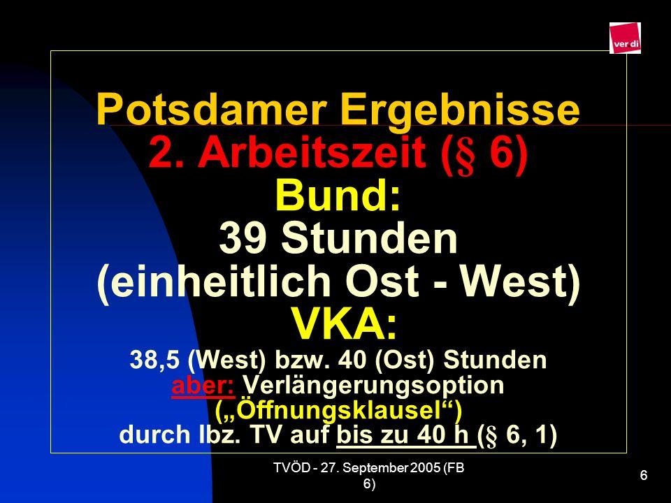 """Potsdamer Ergebnisse 2. Arbeitszeit (§ 6) Bund: 39 Stunden (einheitlich Ost - West) VKA: 38,5 (West) bzw. 40 (Ost) Stunden aber: Verlängerungsoption (""""Öffnungsklausel ) durch lbz. TV auf bis zu 40 h (§ 6, 1)"""