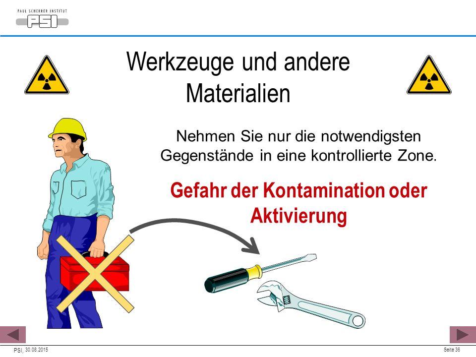 Gefahr der Kontamination oder Aktivierung