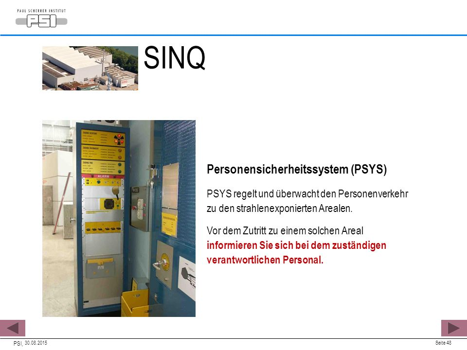 SINQ Personensicherheitssystem (PSYS)