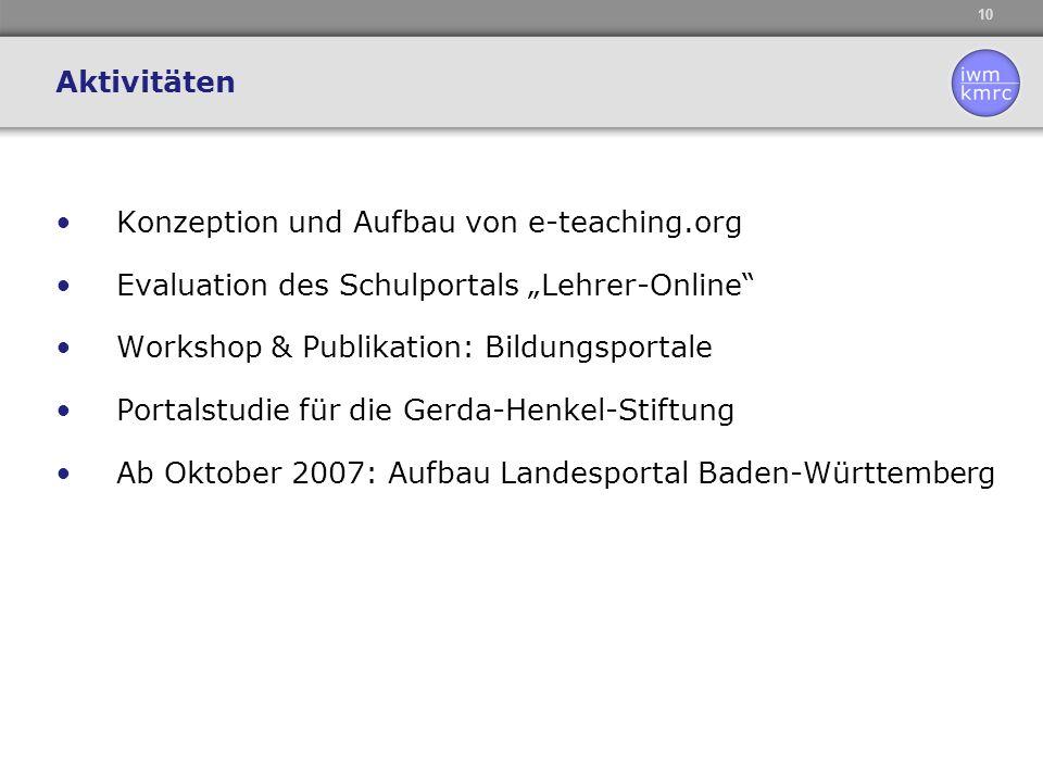 """Aktivitäten Konzeption und Aufbau von e-teaching.org. Evaluation des Schulportals """"Lehrer-Online Workshop & Publikation: Bildungsportale."""