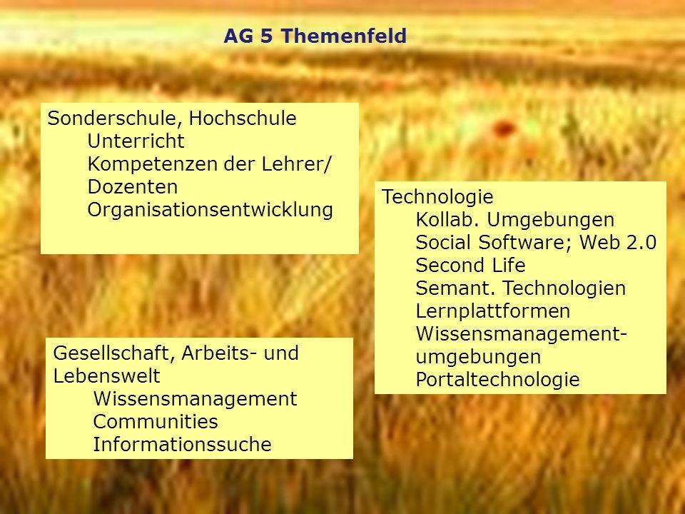 AG 5 Themenfeld Sonderschule, Hochschule. Unterricht. Kompetenzen der Lehrer/ Dozenten. Organisationsentwicklung.