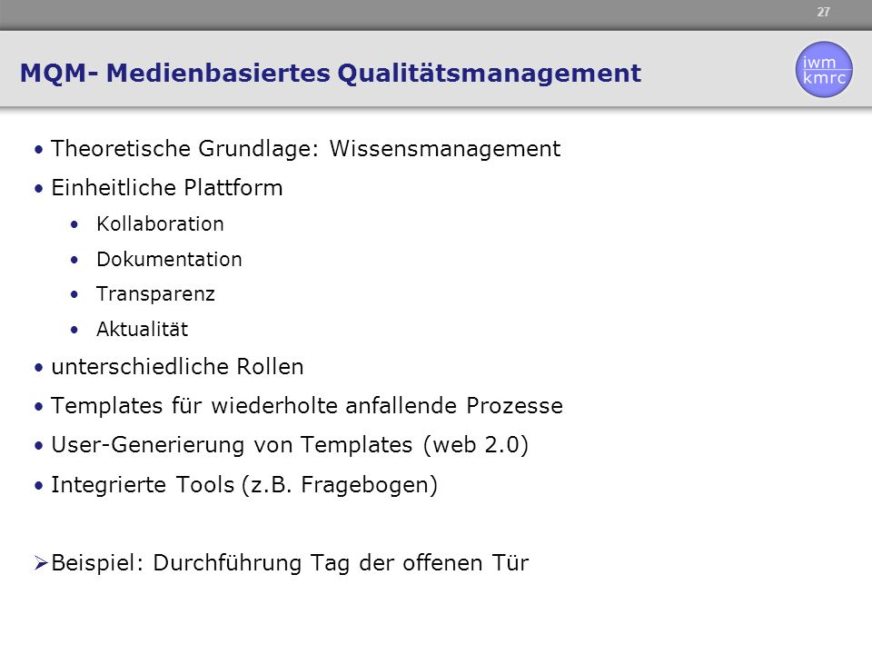 MQM- Medienbasiertes Qualitätsmanagement