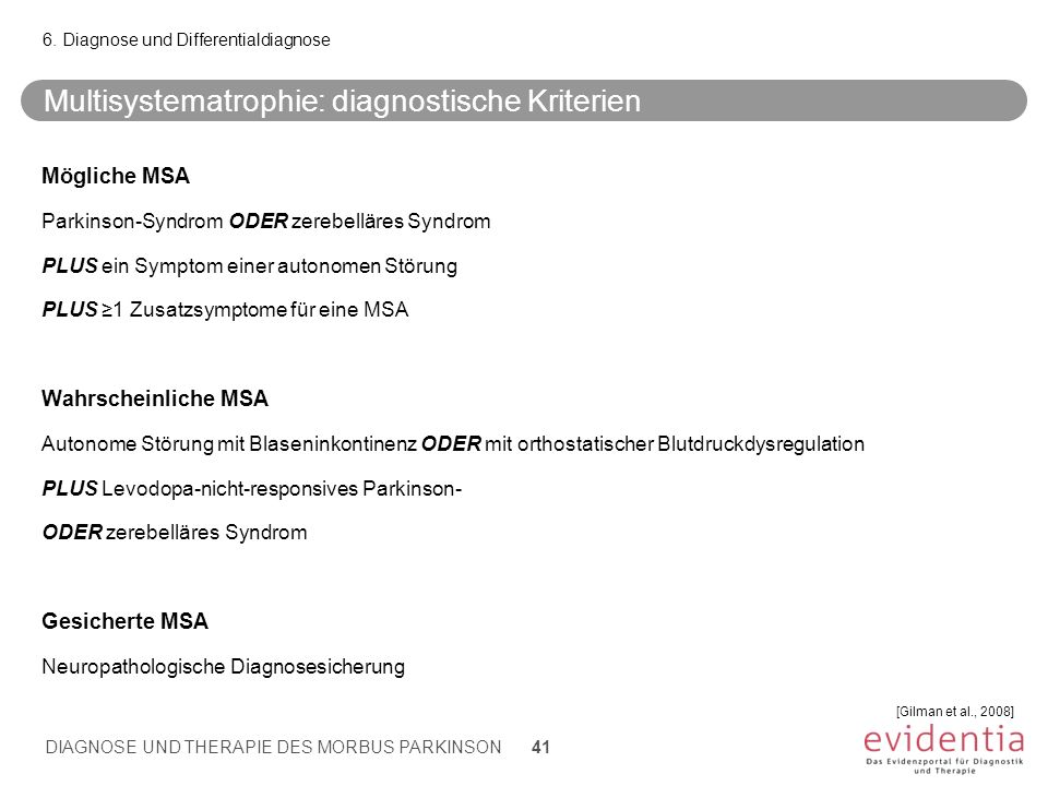 Multisystematrophie: diagnostische Kriterien