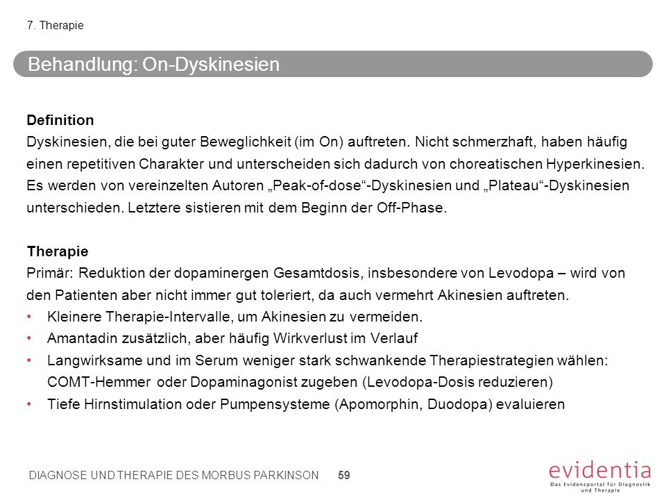 Behandlung: On-Dyskinesien