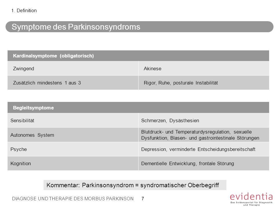 Symptome des Parkinsonsyndroms