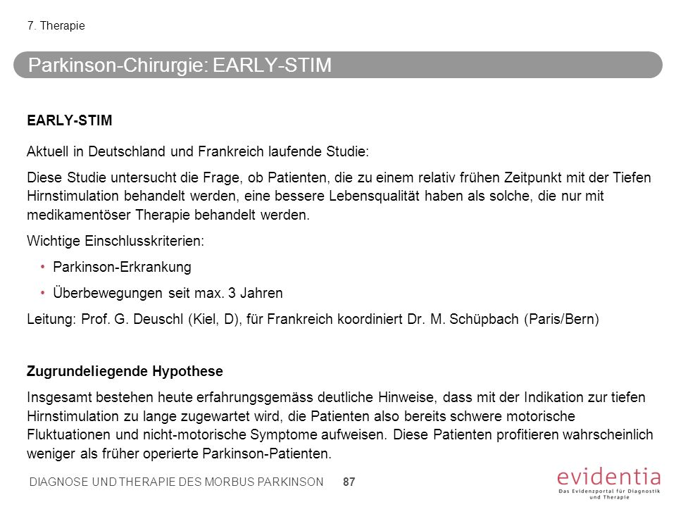 Parkinson-Chirurgie: EARLY-STIM