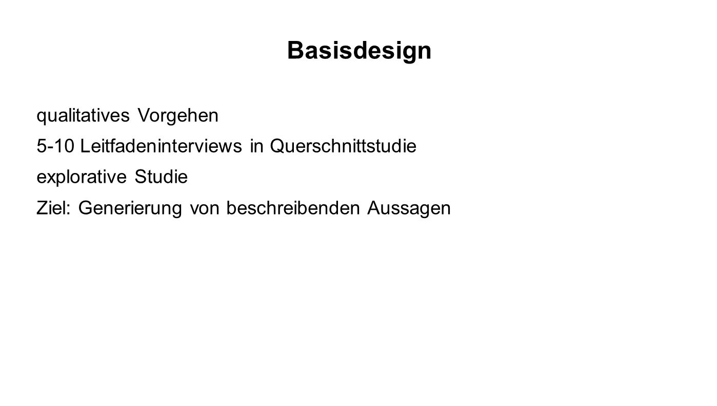 Basisdesign qualitatives Vorgehen