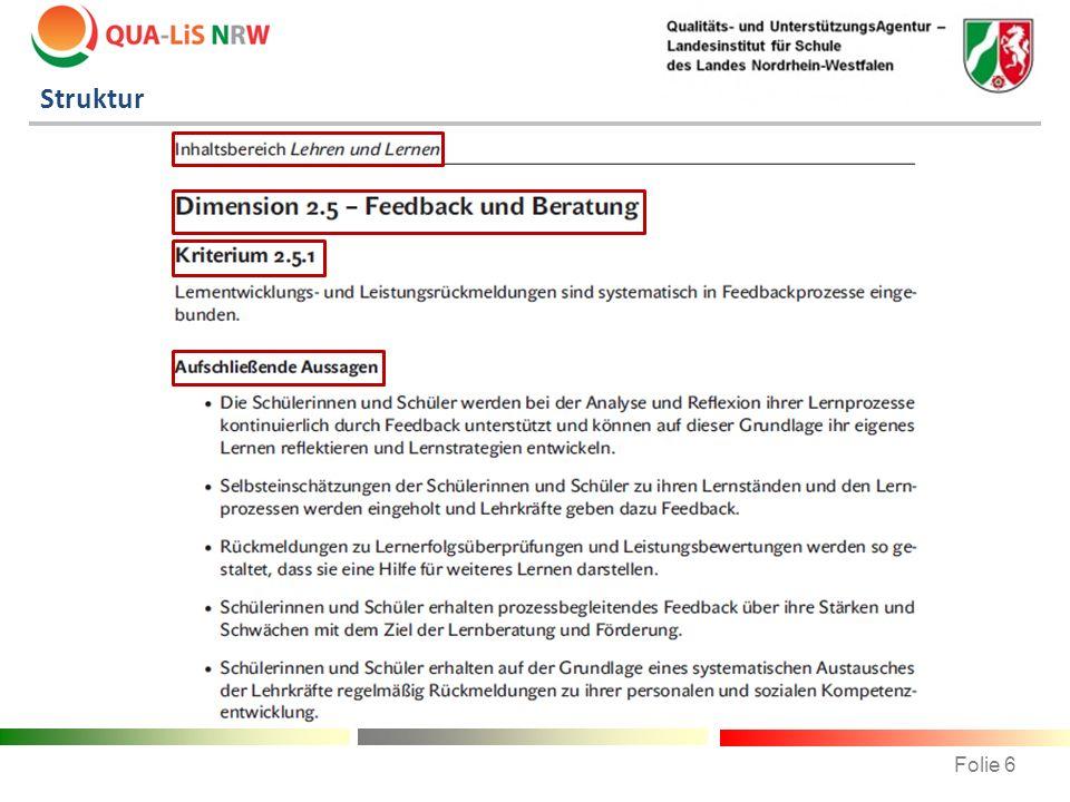 Struktur Auszug aus der Druckversion des Referenzrahmens Schulqualität NRW.