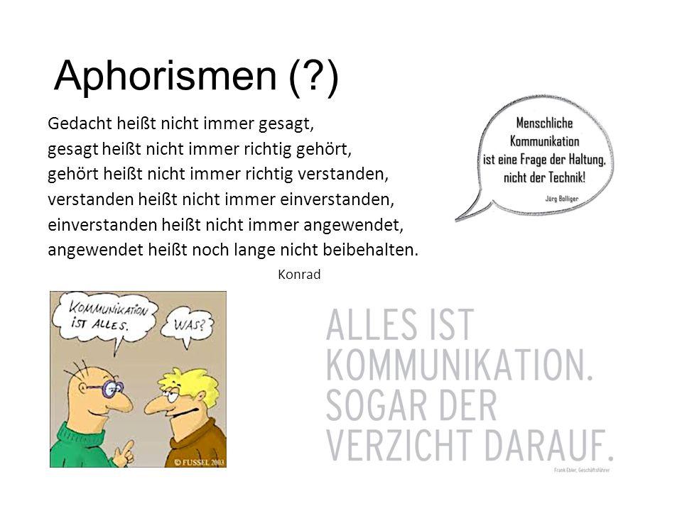 Aphorismen ( ) Gedacht heißt nicht immer gesagt,