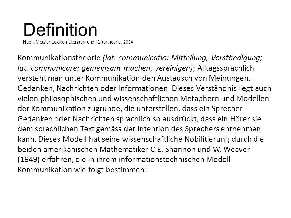Definition Nach: Metzler Lexikon Literatur- und Kulturtheorie, 2004