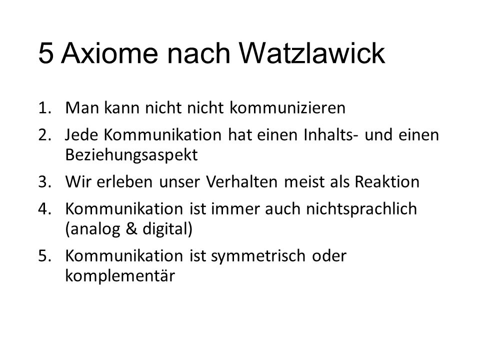 5 Axiome nach Watzlawick