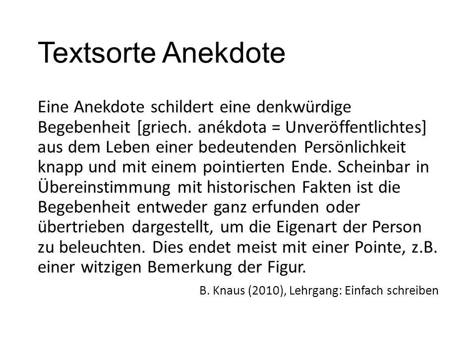Textsorte Anekdote