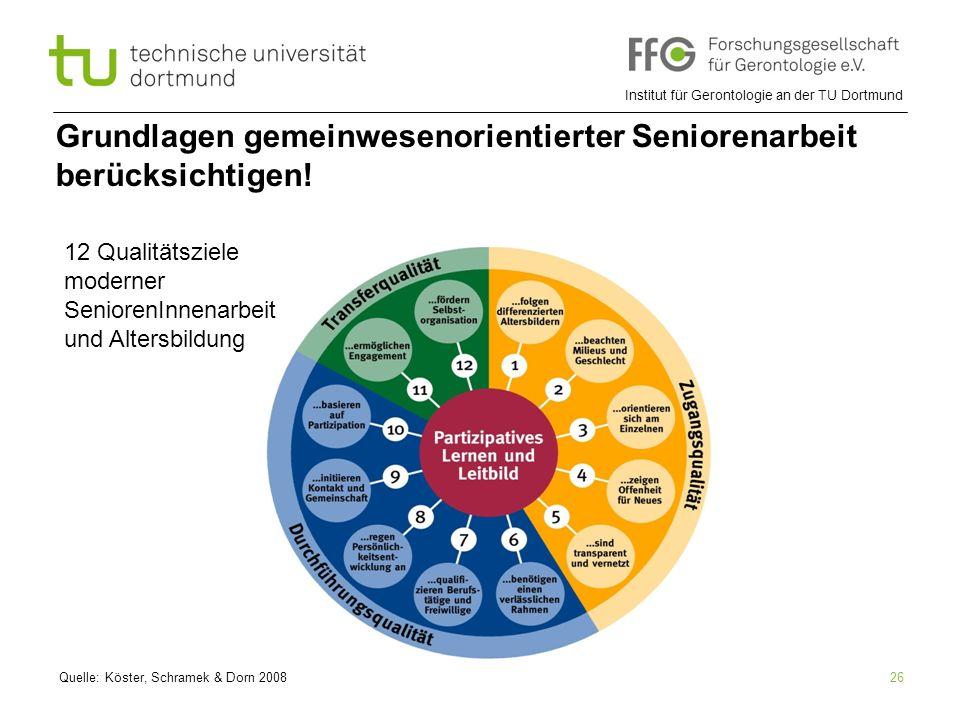 Grundlagen gemeinwesenorientierter Seniorenarbeit berücksichtigen!