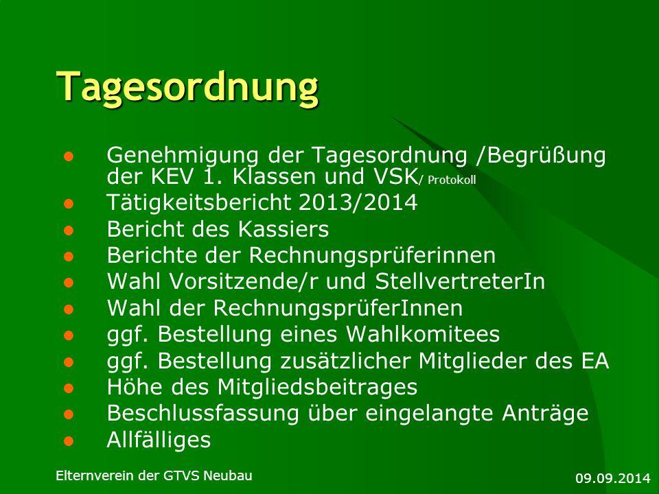 Tagesordnung Genehmigung der Tagesordnung /Begrüßung der KEV 1. Klassen und VSK/ Protokoll. Tätigkeitsbericht 2013/2014.