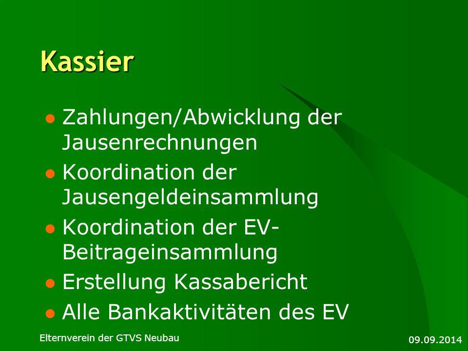 Kassier Zahlungen/Abwicklung der Jausenrechnungen