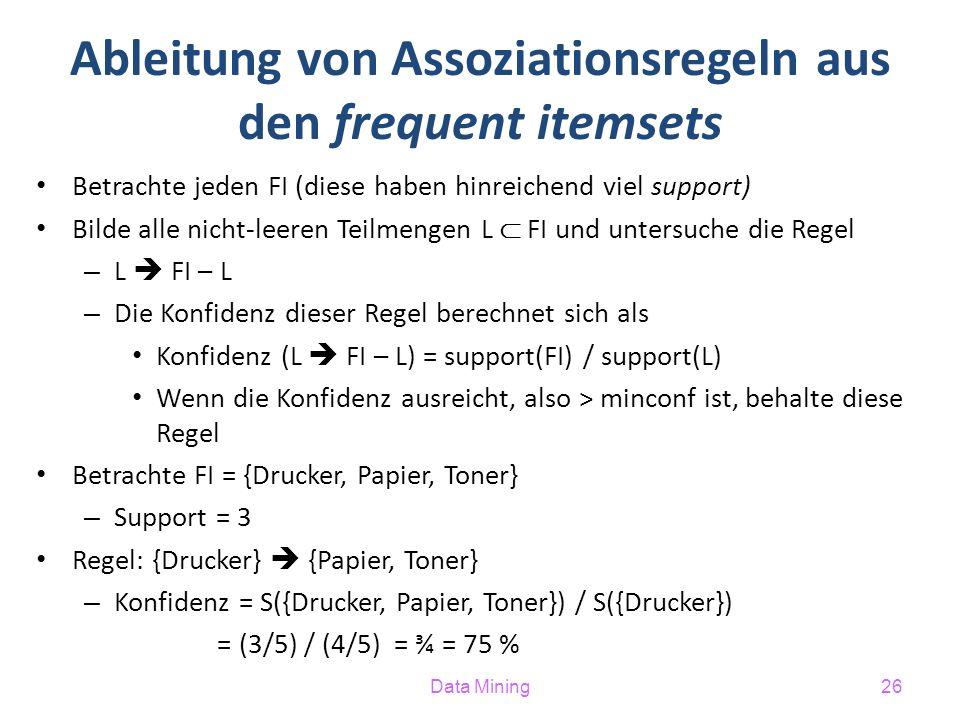 Ableitung von Assoziationsregeln aus den frequent itemsets