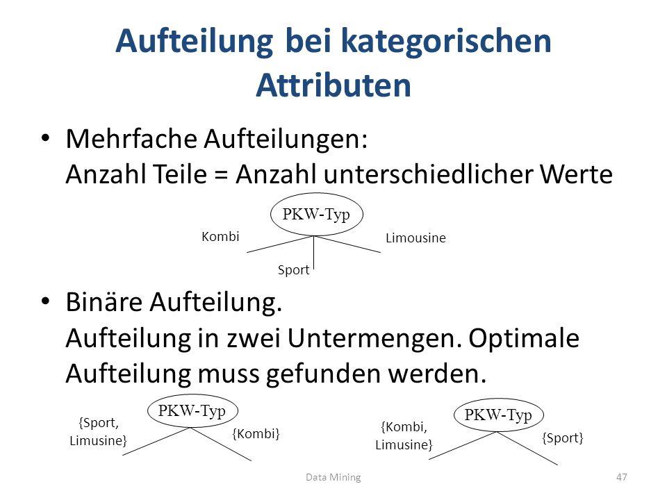 Aufteilung bei kategorischen Attributen