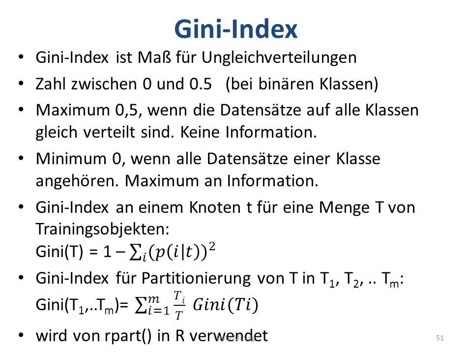 Gini-Index Gini-Index ist Maß für Ungleichverteilungen