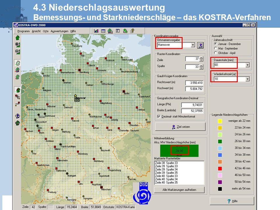 4.3 Niederschlagsauswertung Bemessungs- und Starkniederschläge – das KOSTRA-Verfahren