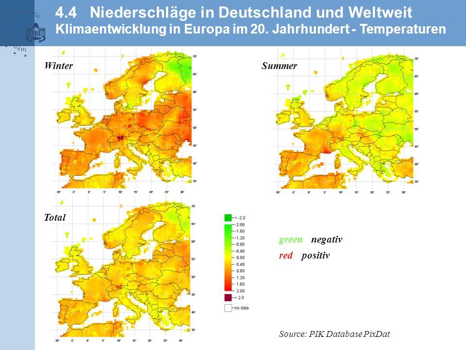 4.4 Niederschläge in Deutschland und Weltweit Klimaentwicklung in Europa im 20. Jahrhundert - Temperaturen