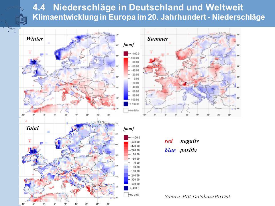 4.4 Niederschläge in Deutschland und Weltweit Klimaentwicklung in Europa im 20. Jahrhundert - Niederschläge