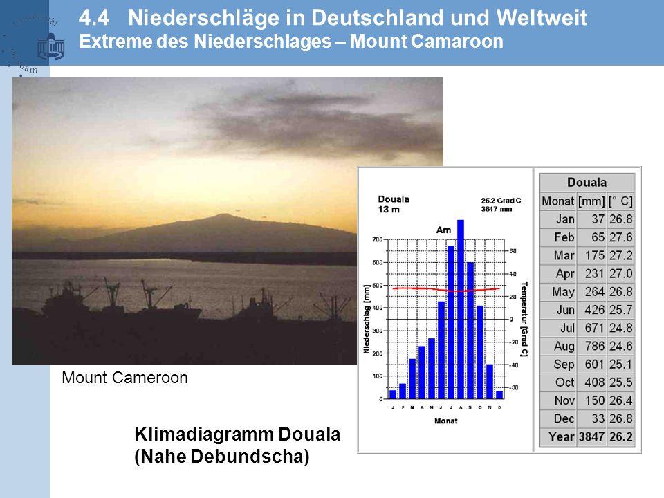 4.4 Niederschläge in Deutschland und Weltweit Extreme des Niederschlages – Mount Camaroon