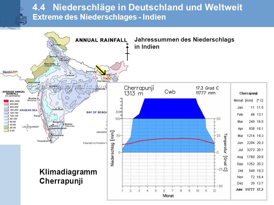 4.4 Niederschläge in Deutschland und Weltweit Extreme des Niederschlages - Indien