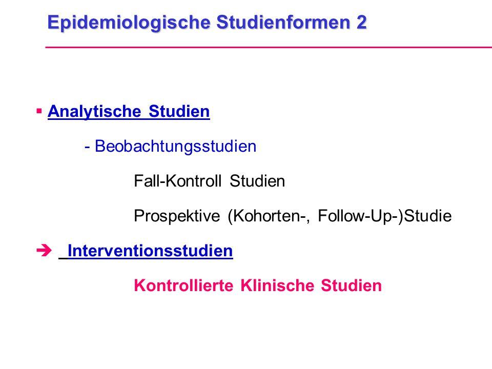 Epidemiologische Studienformen 2