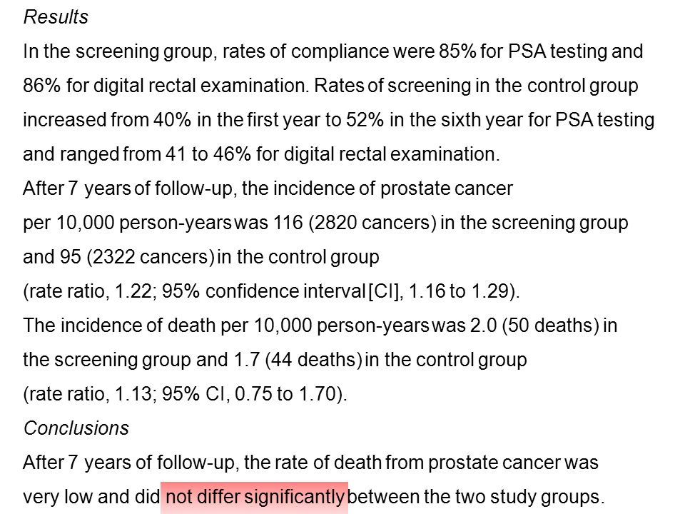 Results In the screening group, rates of compliance were 85% for PSA testing and.