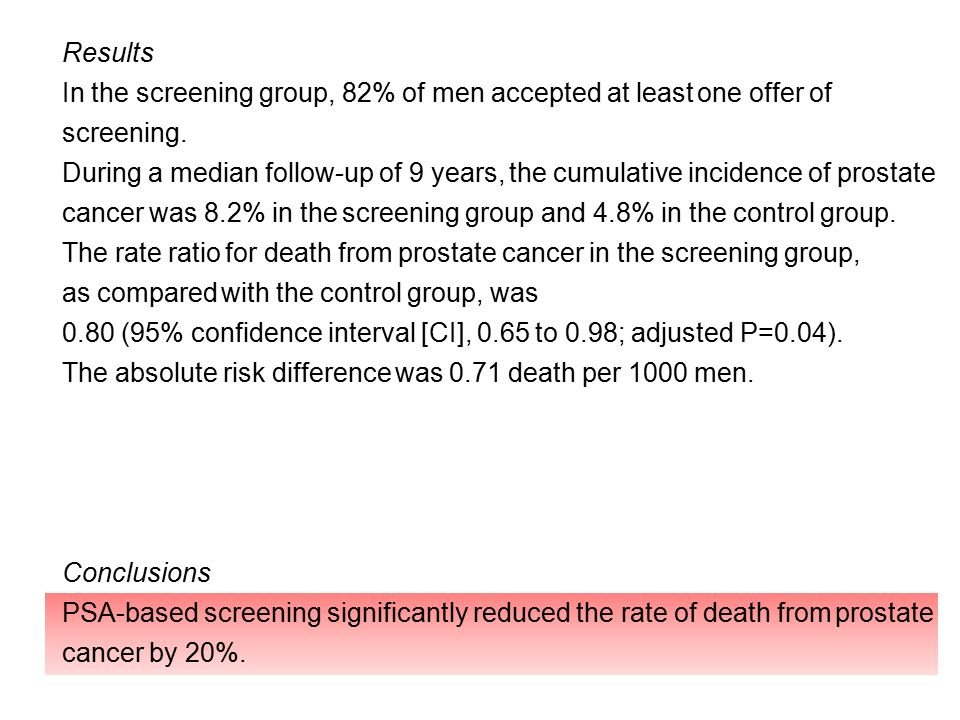 Results In the screening group, 82% of men accepted at least one offer of screening.