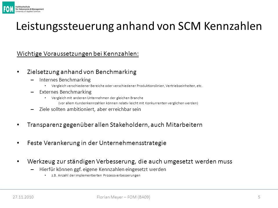 Leistungssteuerung anhand von SCM Kennzahlen