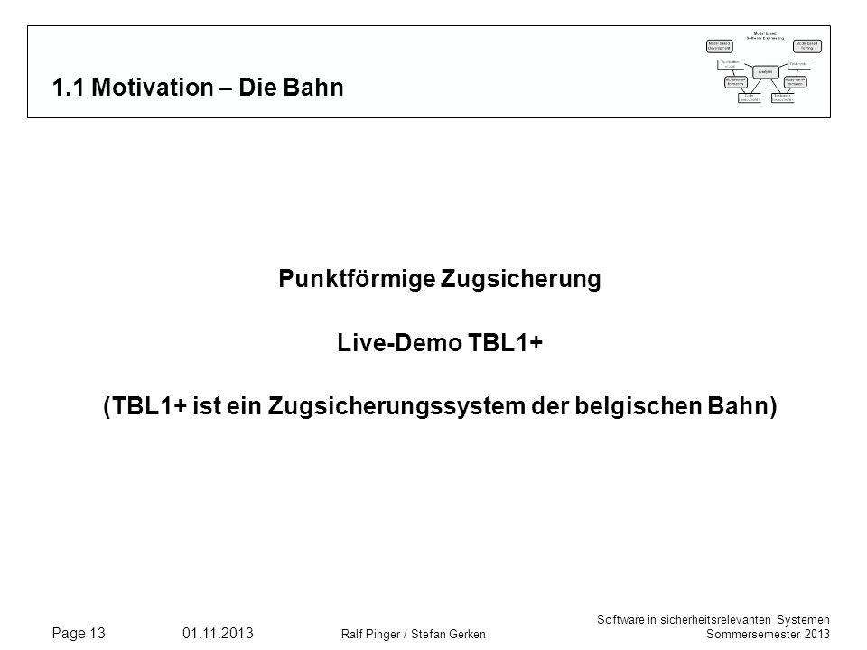 Punktförmige Zugsicherung Live-Demo TBL1+