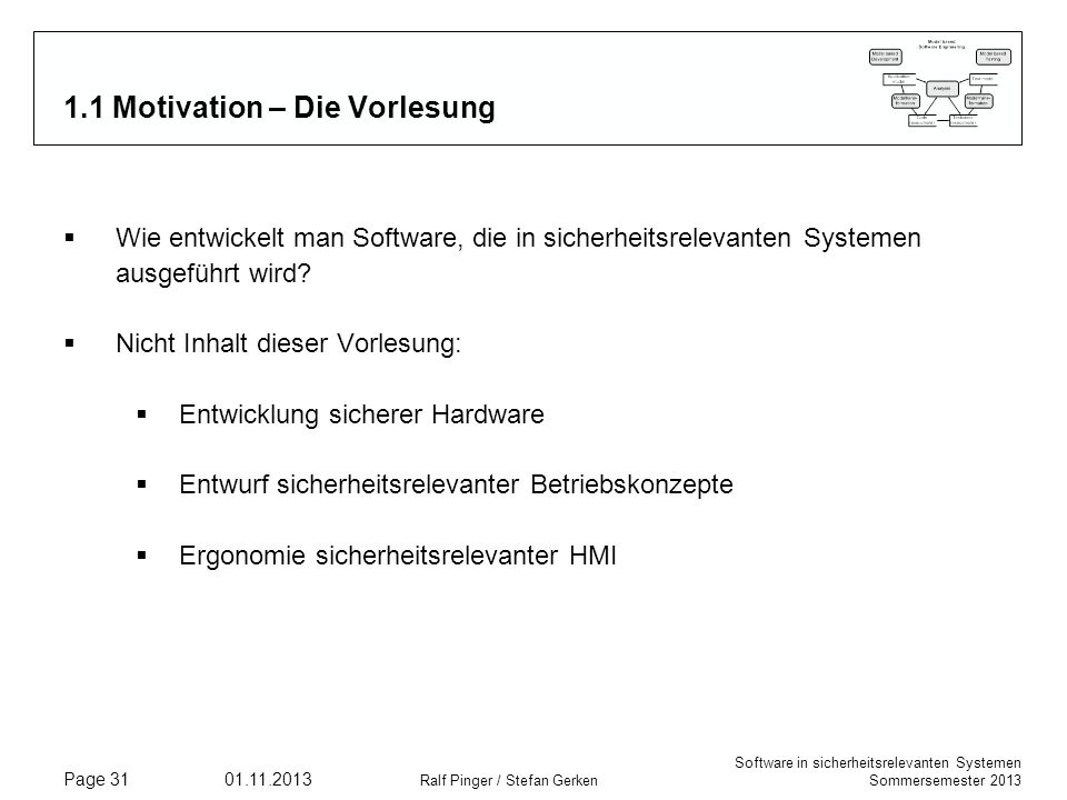 1.1 Motivation – Die Vorlesung