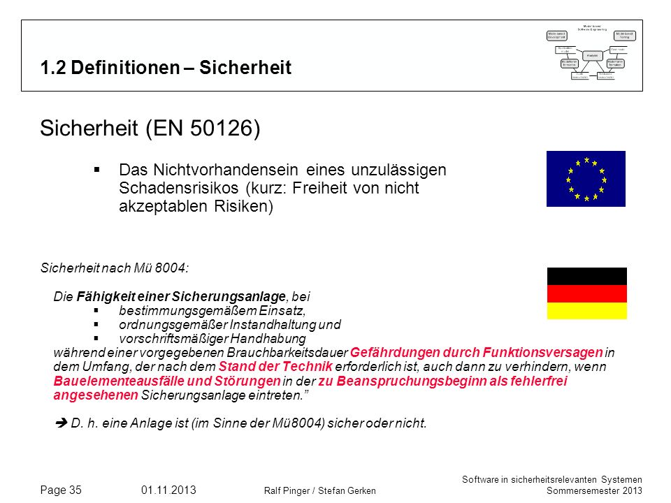 1.2 Definitionen – Sicherheit