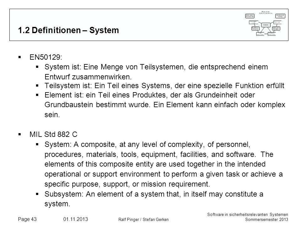 1.2 Definitionen – System EN50129: