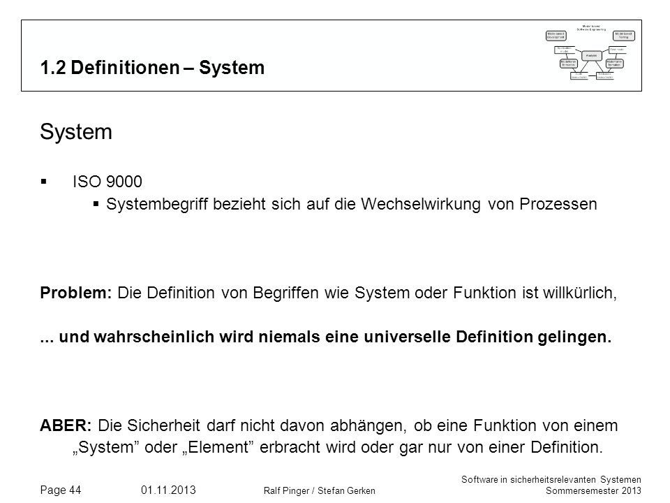 System 1.2 Definitionen – System ISO 9000