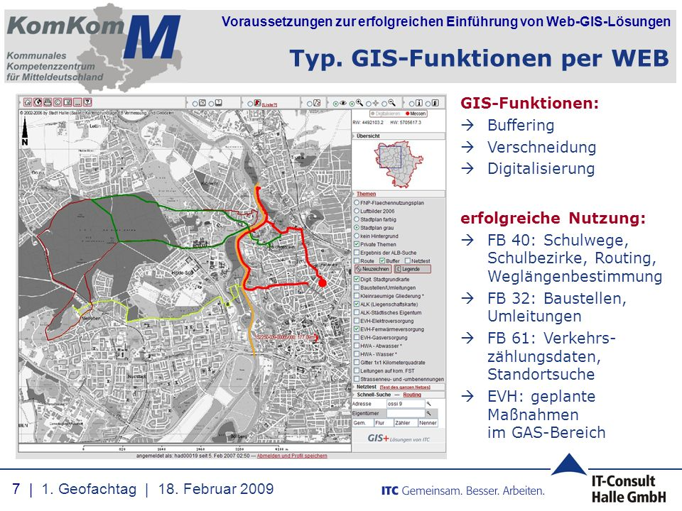 Typ. GIS-Funktionen per WEB