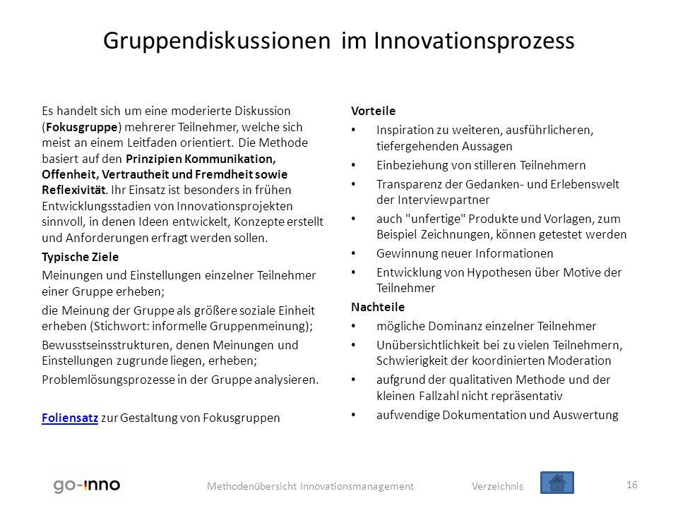 Gruppendiskussionen im Innovationsprozess