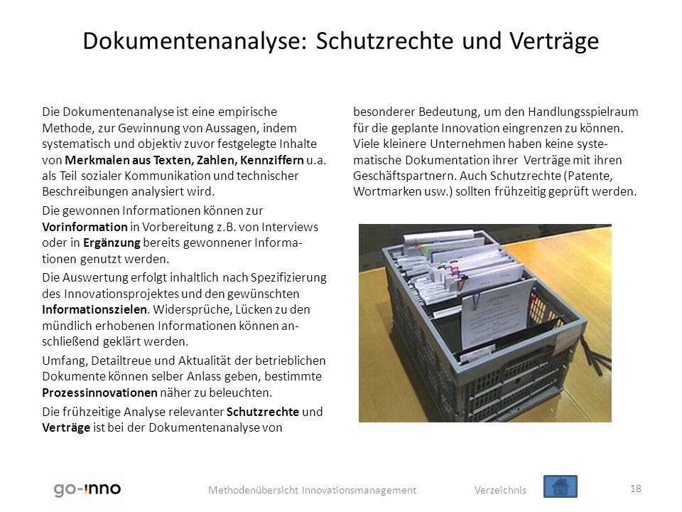 Dokumentenanalyse: Schutzrechte und Verträge