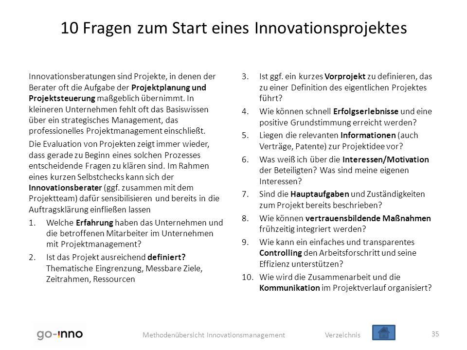 10 Fragen zum Start eines Innovationsprojektes