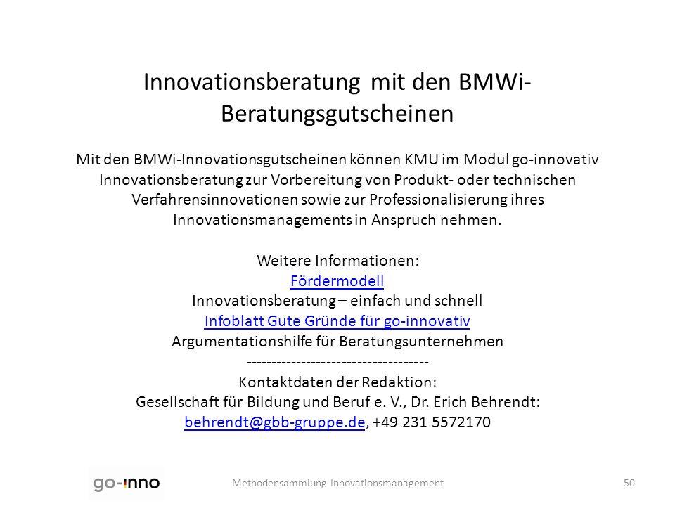 Innovationsberatung mit den BMWi-Beratungsgutscheinen