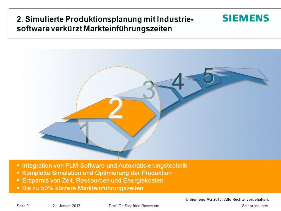 2. Simulierte Produktionsplanung mit Industrie- software verkürzt Markteinführungszeiten
