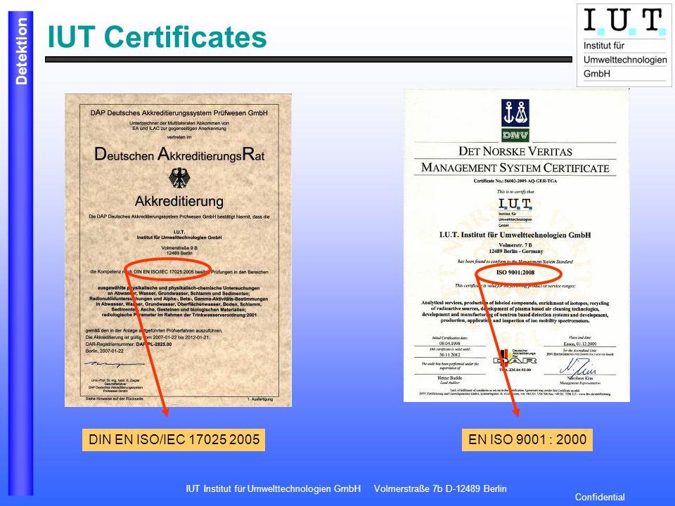 IUT Certificates DIN EN ISO/IEC 17025 2005 EN ISO 9001 : 2000