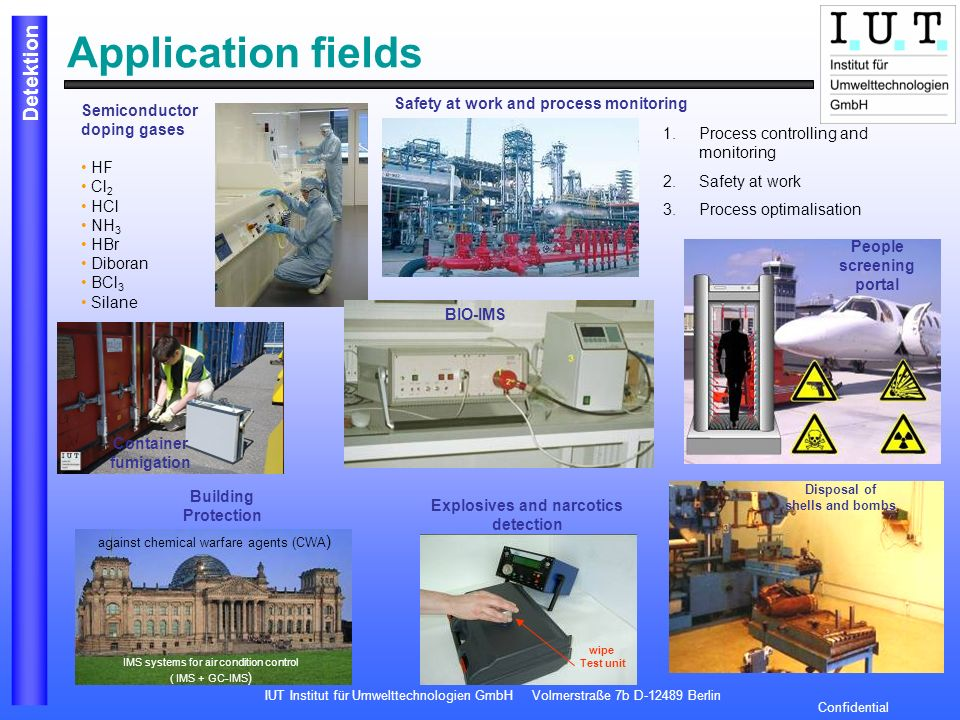 Application fields Safety at work and process monitoring Semiconductor